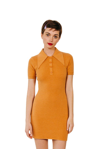 JoosTricot Solid Caramel Sauce Polo Mini Dress