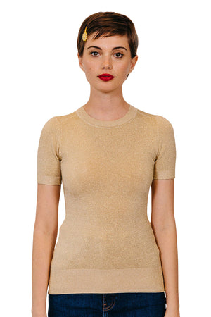 Gold Lurex Crew Neck T