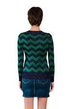 JoosTricot Zig Zag Purple/Green Lurex Crew Neck