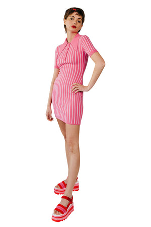 JoosTricot Pinstripe Dragonfruit/White Polo Mini Dress