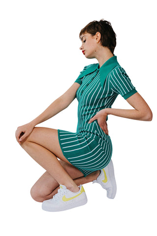 JoosTricot Pinstripe Alhambra Peachskin Polo Mini Dress