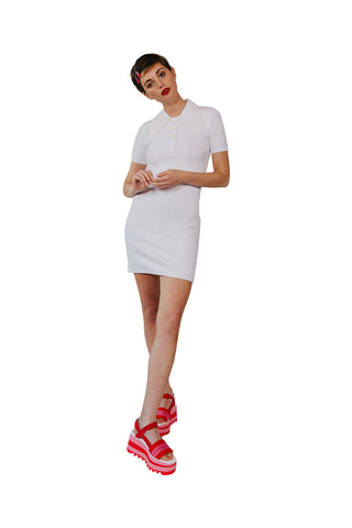 JoosTricot Solid Laser White Peachskin Polo Mini Dress