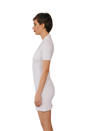 Laser White Peachskin Polo Mini Dress