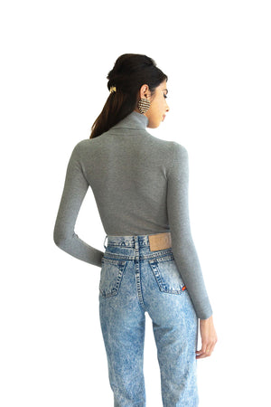 JoosTricot Solid Slate Peachskin Turtleneck