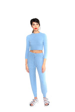 JoosTricot Sky Blue Cuddle Cashmere Crop Top