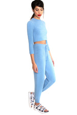 Sky Blue Cuddle Cashmere Crop Top