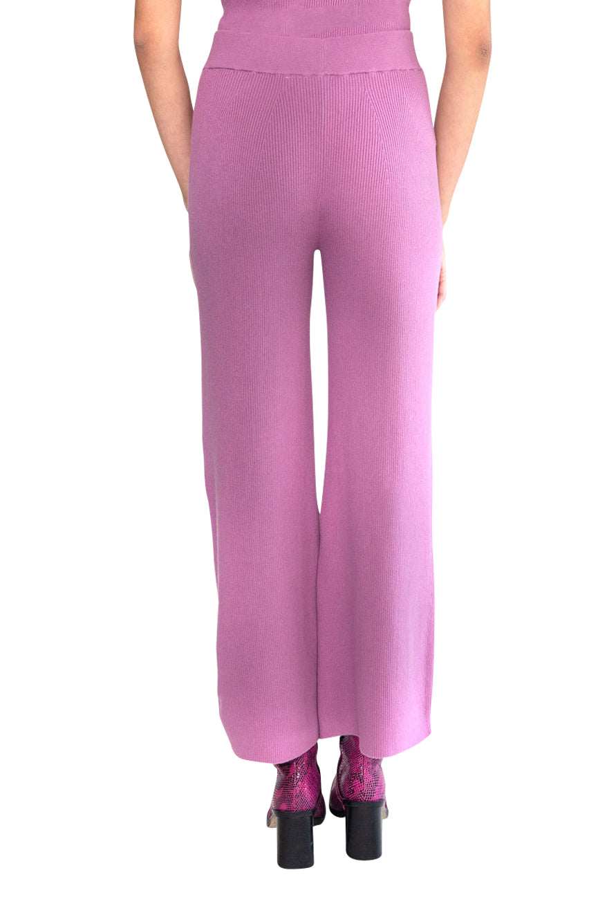 JoosTricot Solid Orchid Dusk Ribbed Peachskin Palazzo Pants