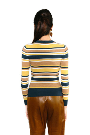 JoosTricot Striped Marzipan Peachskin Crewneck