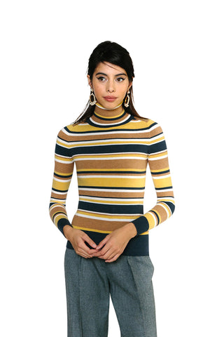 JoosTricot Striped Marzipan Peachskin Turtleneck