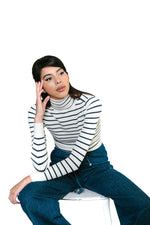 Striped White Marine Peachskin Turtleneck