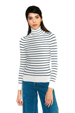JoosTricot Striped White Marine Peachskin Turtleneck