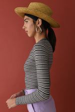 JoosTricot Canvas/Coal Mini Stripe Peachskin Crew Neck