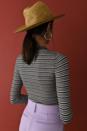Canvas/Coal Mini Stripe Peachskin Crew Neck