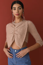 JoosTricot Dewy Pink Mohair Bow Top with Swarovski Crystals