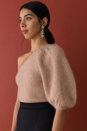 JoosTricot Dewy Pink Mohair Balloon Sleeve Top with Swarovski Crystals