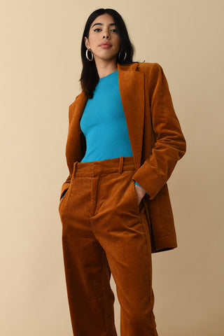 JoosTricot Solid Peacock Jewel Peachskin Crew Neck