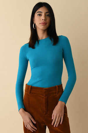Solid Peacock Jewel Peachskin Crew Neck