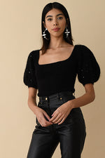 JoosTricot Black Mohair Poofy Sleeve Top with Swarovski Crystals