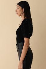 Black Mohair Poofy Sleeve Top with Swarovski Crystals