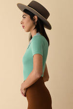 Blue Fern Peachskin Polo with Swarovski Crystals Collar