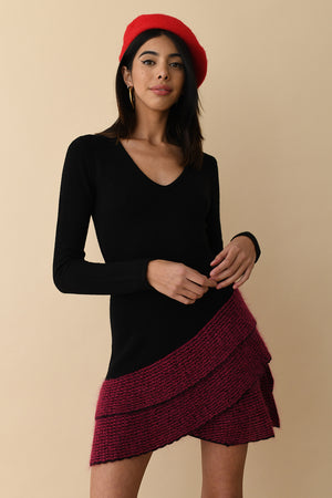 JoosTricot Black/Fuchsia Mohair Trim Long Sleeve Mini Dress