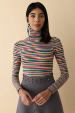 Rainbow Mini Stripe Peachskin Turtleneck