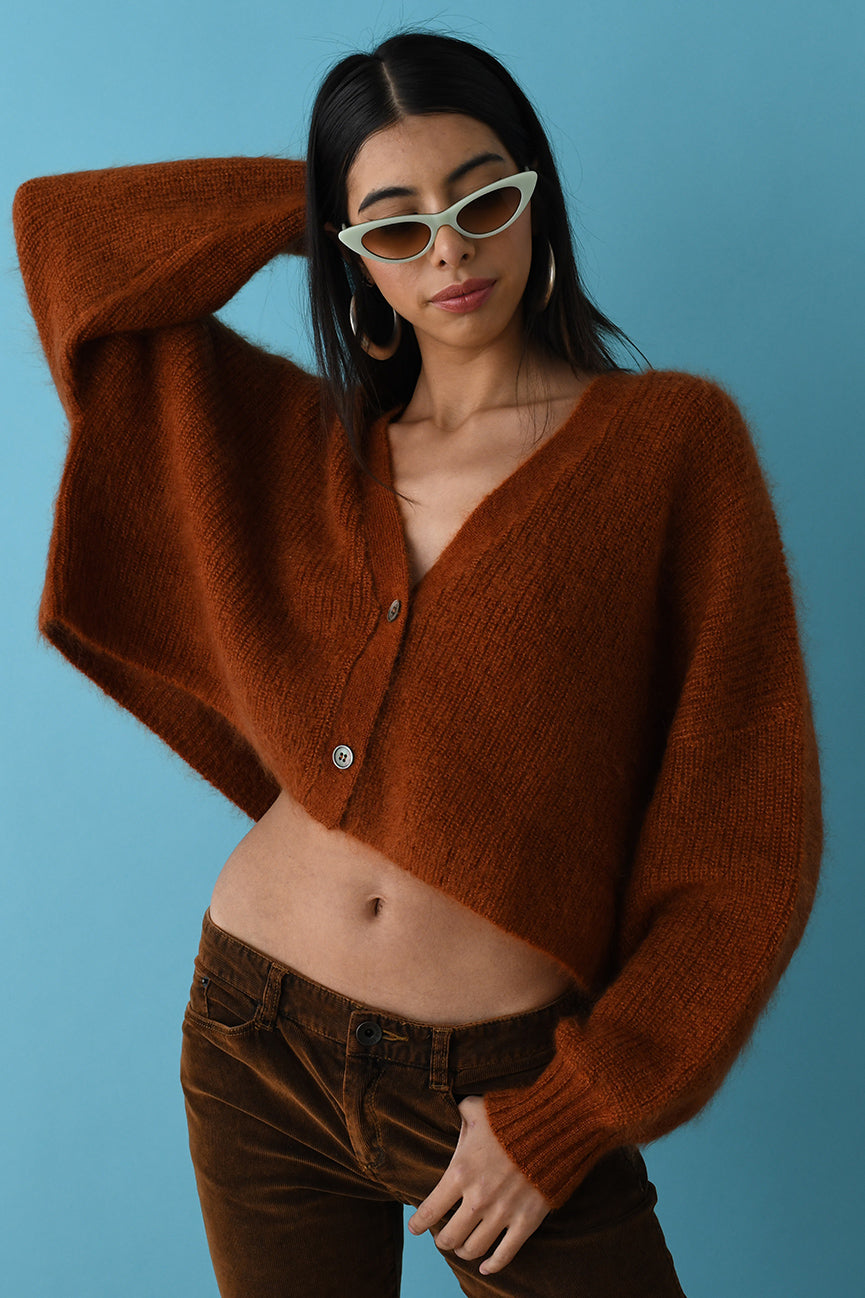 Chili Mohair Crop Cardigan
