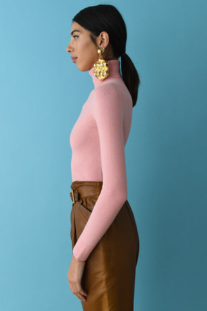 Dewy Pink Peachskin Turtleneck