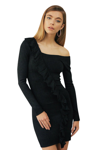 Black Lurex Asymmetric Dress