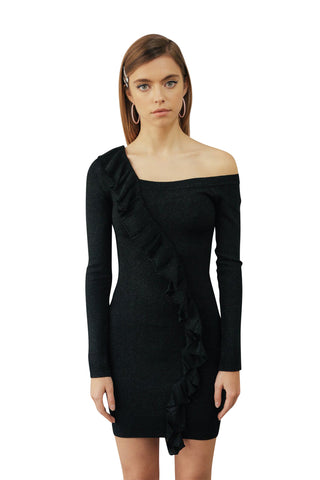 JoosTricot Black Lurex Asymmetric Dress