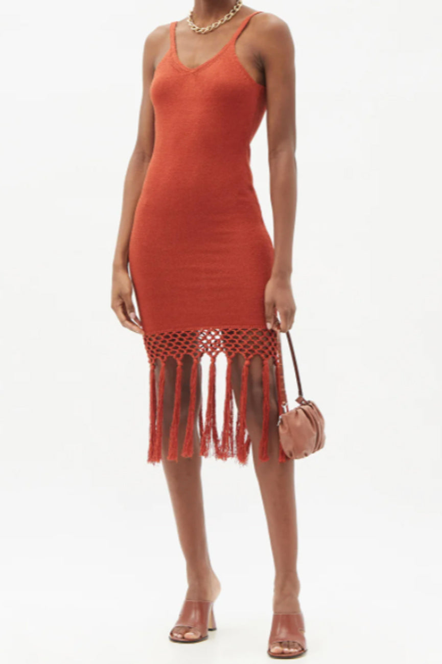 Spice Linen Tassel Midi Dress