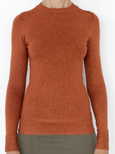 Copper Lurex Long Sleeve Crewneck