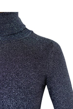 JoosTricot dark navy lurex turtleneck close up