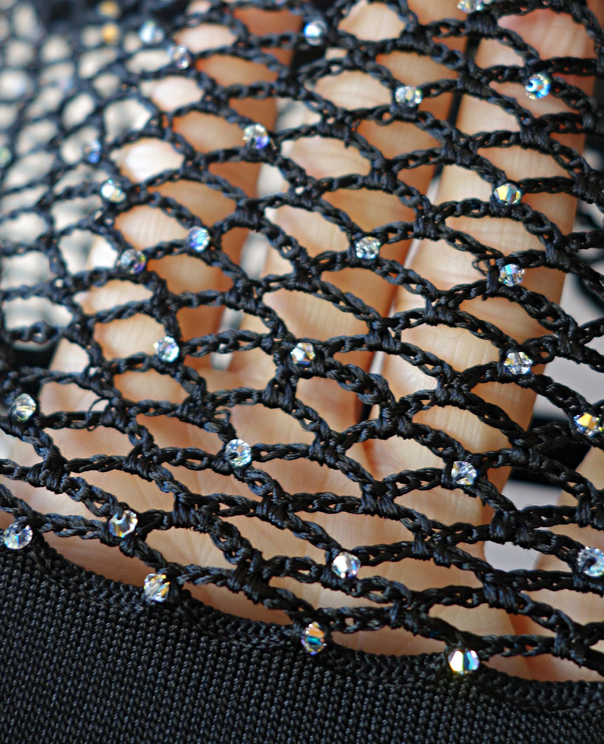 JoosTricot Black Fishnet Dress with Swarovski Crystals