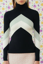 JoosTricot Navy Chevron Peachskin Turtleneck