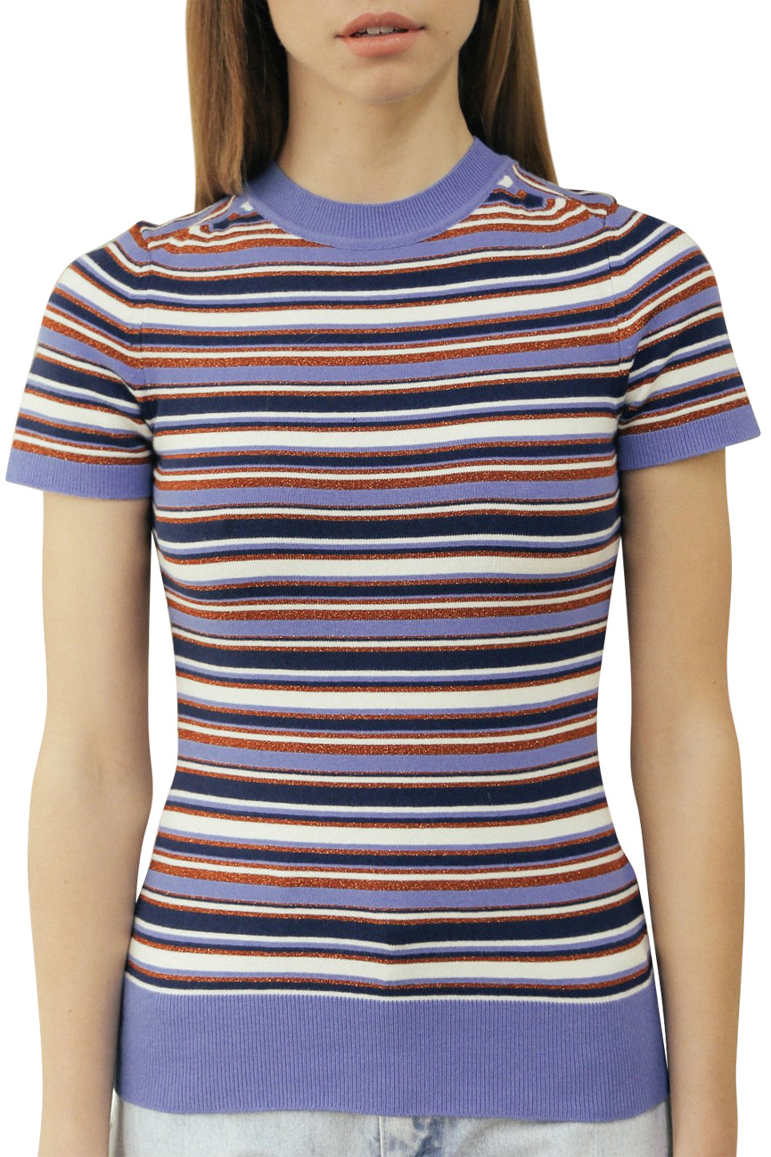 JoosTricot Striped Summer Blue Crew Neck T-shirt
