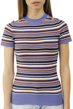 Striped Summer Blue Crew Neck T-shirt