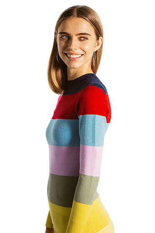 JoosTricot Rainbow Stripe Peachskin Crew Neck
