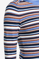JoosTricot Striped Summer Blue Long Sleeve Crew Neck