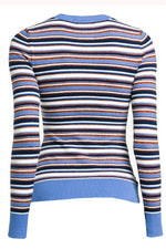 Striped Summer Blue Long Sleeve Crew Neck
