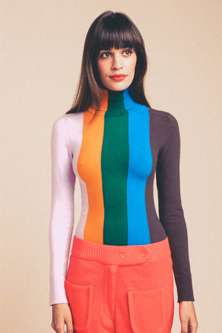 JoosTricot Multi-Color Vertical Stripe Peachskin Turtleneck