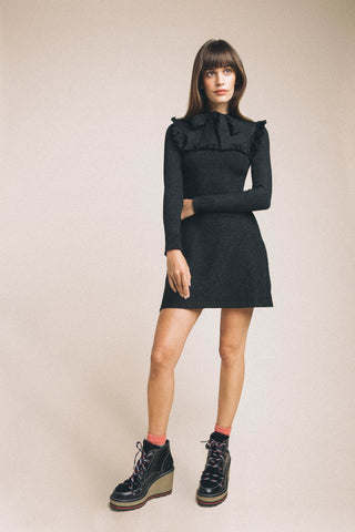 JoosTricot Black Lurex Ruffle Dress