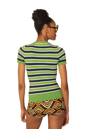 JoosTricot Striped Lime Jelly/Indigo Crew Neck T