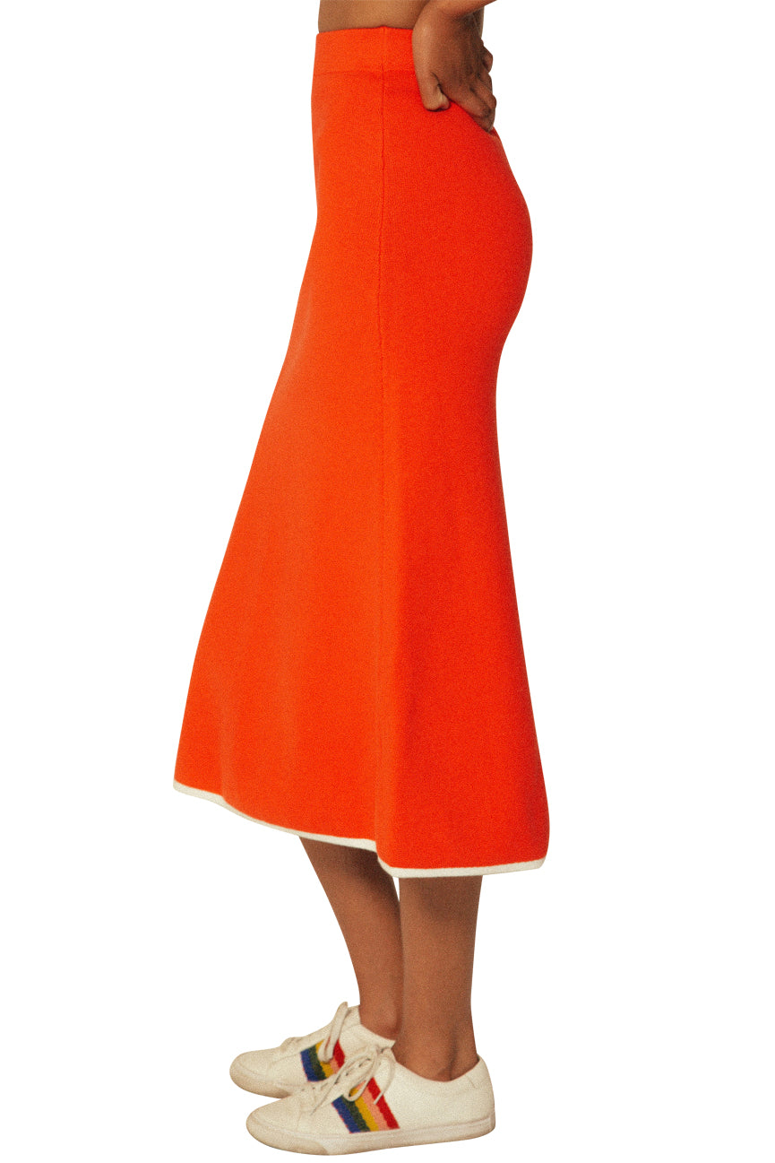 Red Flame Flared Midi Skirt