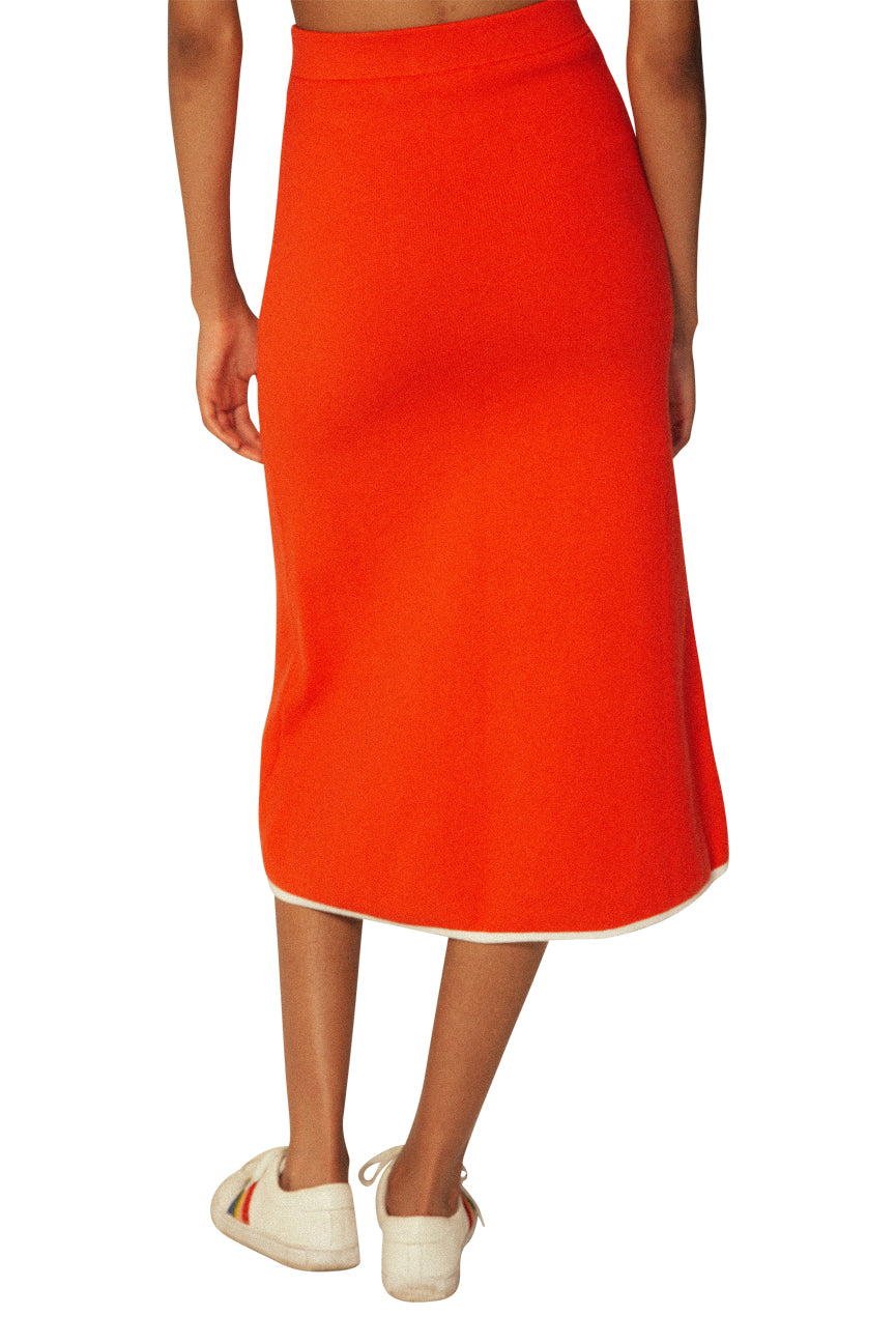 JoosTricot Red Flame Flared Midi Skirt