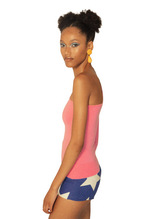 Pink Asymmetric One-Sleeve Top