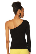 Black Asymmetric One-Sleeve Top