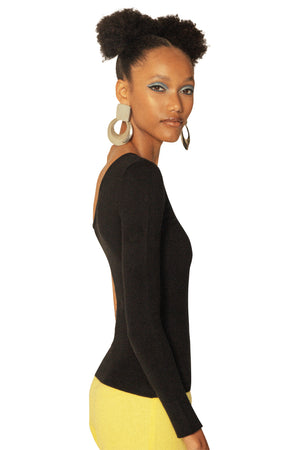 JoosTricot Black Asymmetric One-Sleeve Top