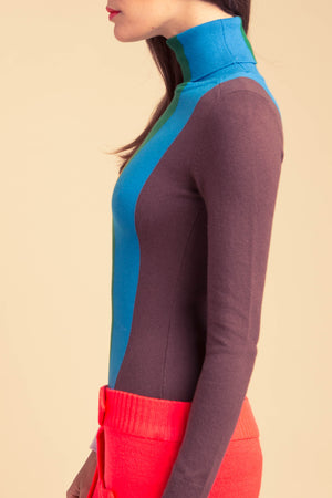 Multi-Color Vertical Stripe Peachskin Turtleneck