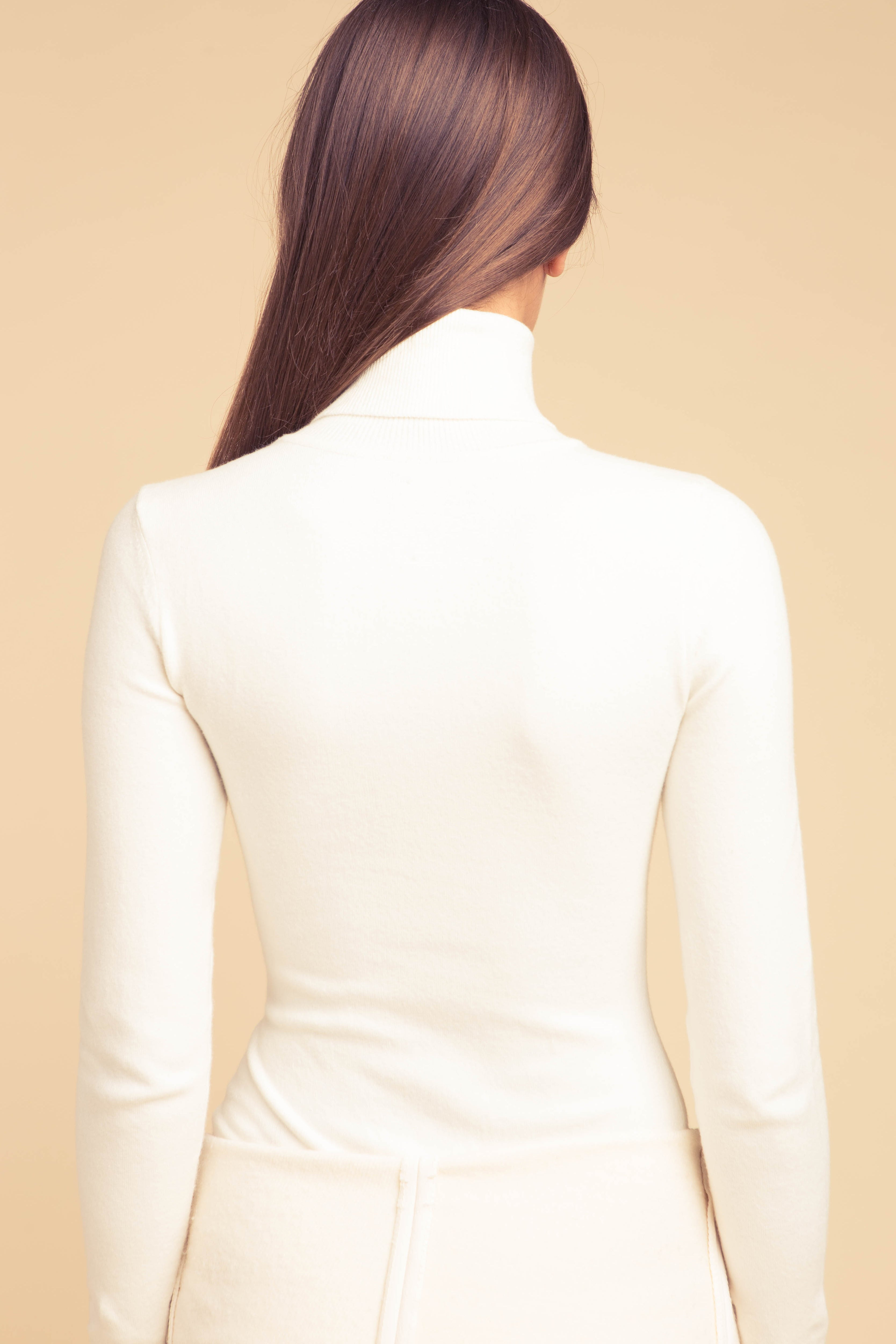 Solid Ice Water Peachskin Turtleneck